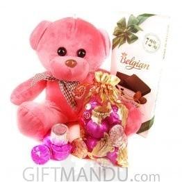Belgian Chocolate Bar, Cute Teddy Bear and Gourmet Chocolates