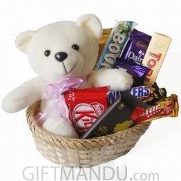 Happy Teddy Bear With Chocolates Basket (10 Items)