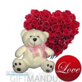Heart Roses with Cute Teddy Bear