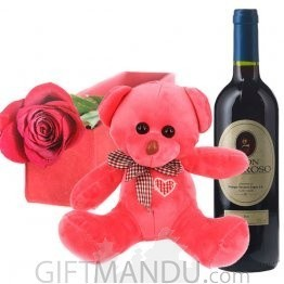 Single Red Rose Box, Teddy Bear and Sweet Red Wine from Spain