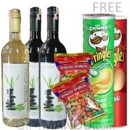 Three Wine Bottles and Snack Packs, Two Free Pringles
