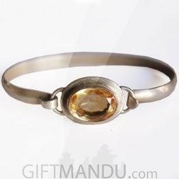 Silver Bracelet - Lock Design Topaz Stone