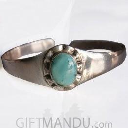 Silver Bracelet - Plain Design Turquoise Stone