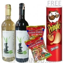 Two Wines (Red, White) and Snack Packs, Free Pringles