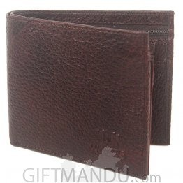 Woods Brown Leather Single-Fold Wallet (Genuine Leather) (WLT-9103)