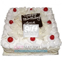 Five Star White Forest Square Cake from Hotel Annapurna