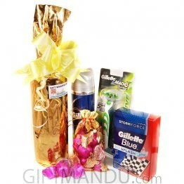 White Sweet Wine, Gillette Kits and Chocolate (5 Items)