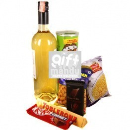 White Sweet Wine and Snacks Combo with Chocolates (7 items)