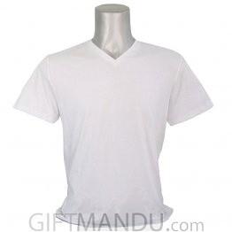 White Casual Cotton Tshirt (V-Neck)