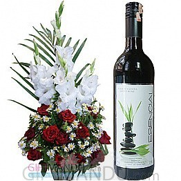 Florist's Fresh Flower Basket and Sweet Red Wine from Spain