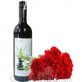 Special Day Treats - Choice of Sweet Wine and Carnations Flower Bunch