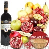 Assorted Fruit Basket With Sweet Red Wine Bottle