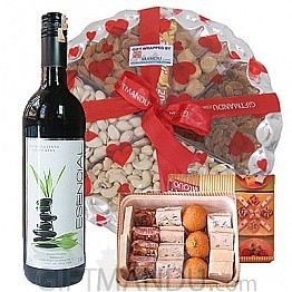 Dry Nuts Tray, Assorted Mithai and Sweet Red Wine Bottle