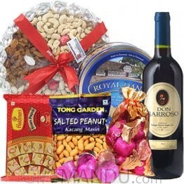 Wine, Dry Nuts Tray, Chocolates, Cookies, Soan Papdi, Snack Pack (6 Items)
