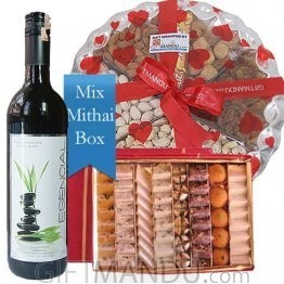 Assorted Mithai Big Box, Dry Nuts Cashews Almonds Tray and Red Wine