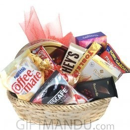 Holiday Basket - Chocolates, Coffee, Tea, Cookies and More (11 Items)