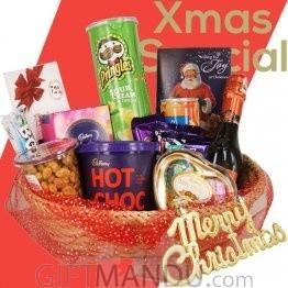 Christmas Hampers of Wine, Snacks & Chocolate Basket