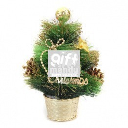 Christmas Tree - Artificial Pine Table Top Tree with Decoration (20cms Tall)