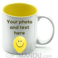 Print Any Photo and Text On This Ceramic Mug (Yellow Interior)