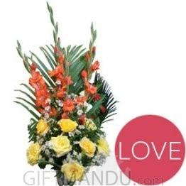 Yellow Roses Orange Glad Love Basket