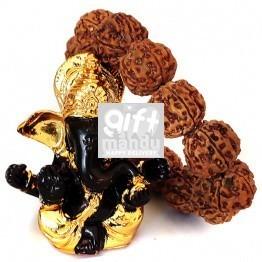 Natural Rudraksha Beads Bracelet and Ganesh Ji Statue