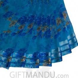 Printed Indian Signature Chiffon Saree - Blue