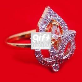 White Stone Studded Leaf Shaped Ring