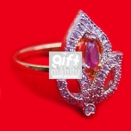 Pink Stone Studded Leaf Shaped Ring