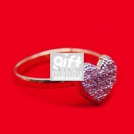 White Stone Studded Heart Shaped Ring