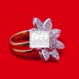 Stone Studded Flower Design Finger Ring