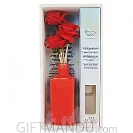 Natural Flower Aroma Reed Diffuser Oil Vase (Red)