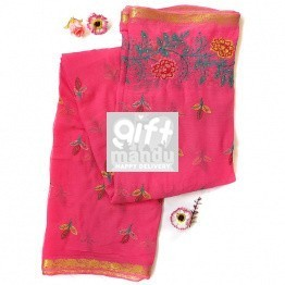 Designer Chiffon Saree - Pink