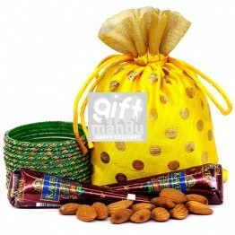 Green Chura With 2Pcs Mehendi & Almonds
