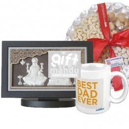 Silver Embossed Ganesh Ji & Laxmi Ji Beautiful Frame (SLV-90021), Best Dad Ever Mug and Dry Nuts Tray