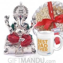 Dry Nuts Tray, Best Dad Ever Mug & Lord Ganesh Ji statue Sitting on Simhasan SLV-9020WX
