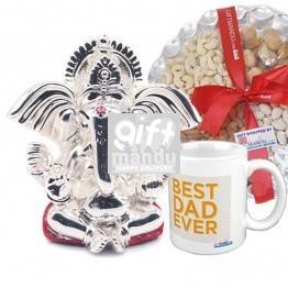 Best Dad Ever Mug, Dry Nuts Tray & Silver wax Karnakanta Ganesh Ji (SLV-9021WX)
