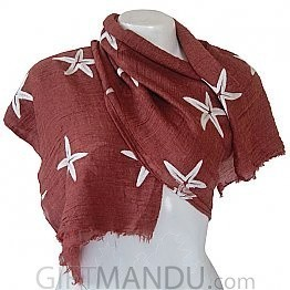 Women Star Print Ladies Scarf - Light Maroon
