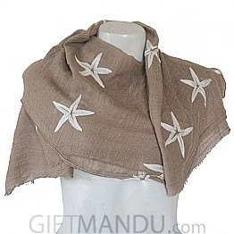 Women Star Print Ladies Scarf - Light Brown