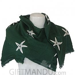 Women Star Print Ladies Scarf - Green