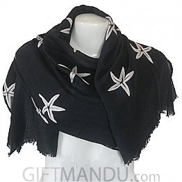 Women Star Print Ladies Scarf - Black