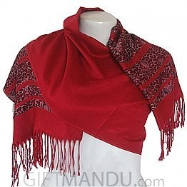 Women Animal Print with Red Lining Scarf Shawl Wrap - Red
