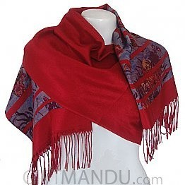 Ladies Floral Print with Red Lining Scarf Shawl Wrap - Red