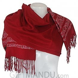 Women Floral Print with Red Lining Scarf Shawl Wrap - Red