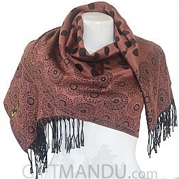 Women Polka Dotted Scarf Shawl Wrap - Brown