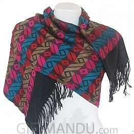 Cashmere Dhaka Scarf With Multi Color Lines and Rectangular Boxes Print