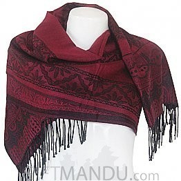 Women Mayur Print Soft Luxurious Scarf Wrap shawl - Maroon