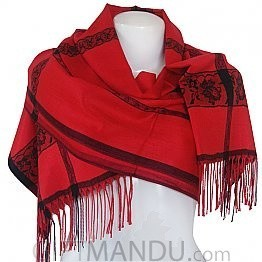 Ladies Flower Print with Black Lining Soft Luxurious Scarf Wrap shawl - Red