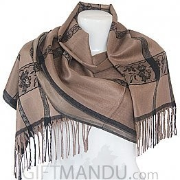 Women Flower Print with Black Lining Soft Luxurious Scarf Wrap shawl - Light Brown