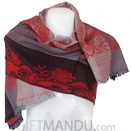 Women Flower Print Soft Luxurious Scarf Wrap shawl - Grey