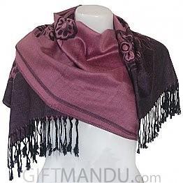 Women Flower Print Soft Luxurious Scarf Wrap shawl - Pink